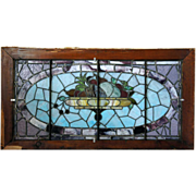 Large American Leaded and Stained Fruit Basket Window