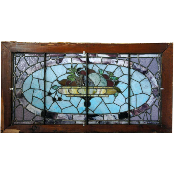 Large American Victorian Leaded and Stained Glass Fruit Basket Window