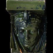 American Art Nouveau Green Glazed Terracotta Female Mask