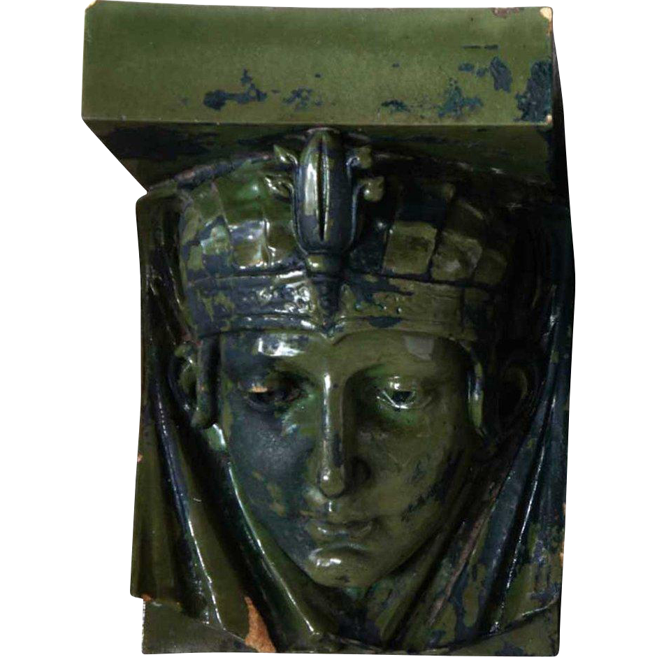 American Art Nouveau Green Glazed Terracotta Female Mask
