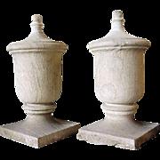 Pair of American Limestone Garden Gatepost  Urn Finials