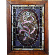 "Pair of American Victorian Opalescent Stained Glass ""Ribbon "" Windows"