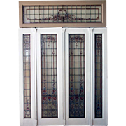 Large Argentine Beaux Arts Mahogany Hand Painted Glass Window and Transom