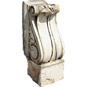 American Neoclassical White Glazed Terracotta Architectural Scroll Bracket