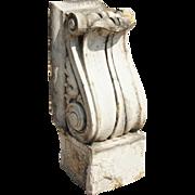 American Neoclassical White Glazed Terracotta Architectural Scroll Bracket