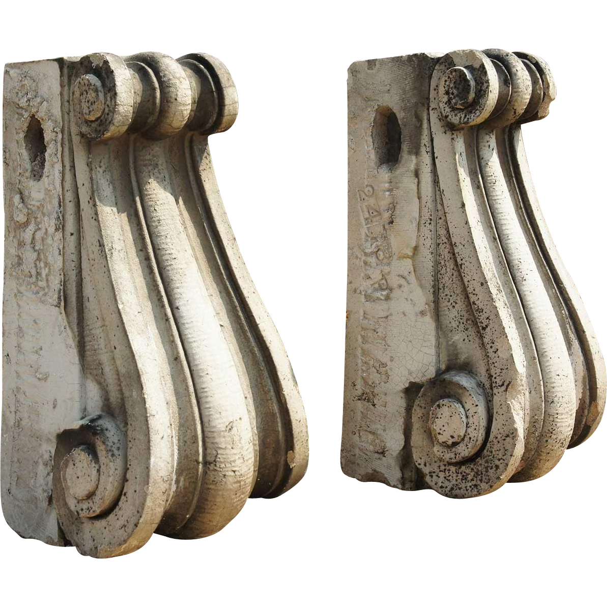 Pair of American Neoclassical Glazed Terracotta Architectural Keystones