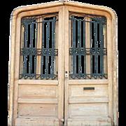 Large Argentine Cedar (Mahogany) Wrought Iron Panel Double Door