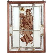English Stained and Painted Leaded Glass Window