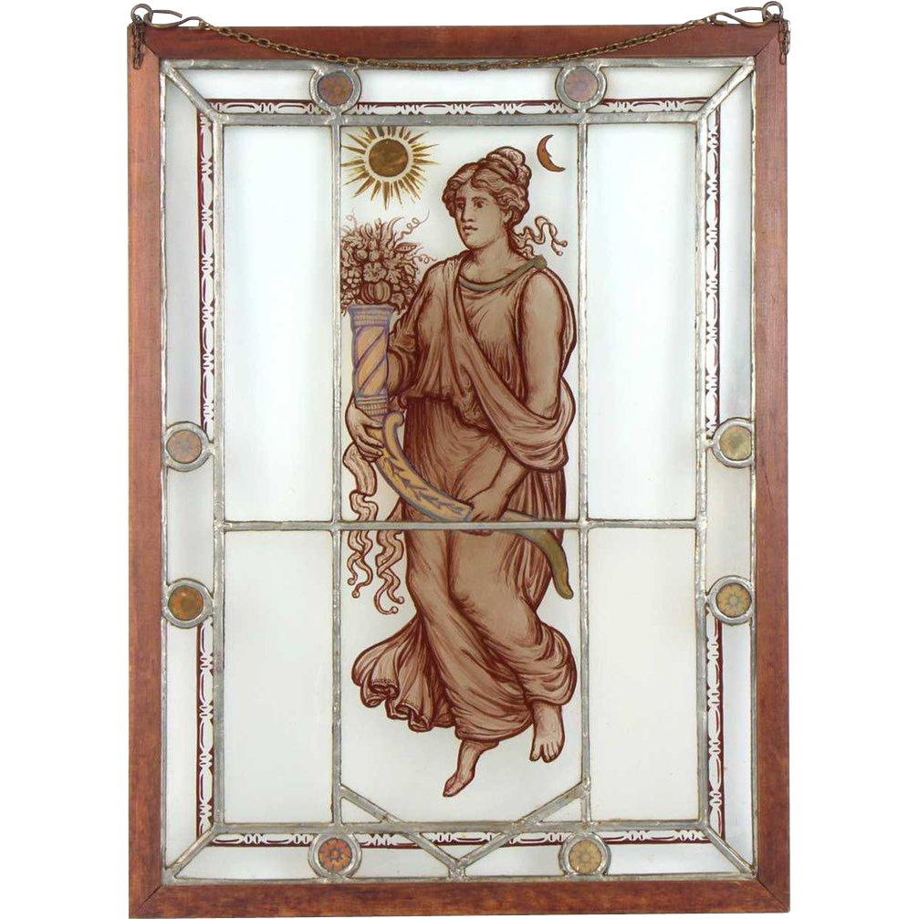 Small English Neoclassical Stained and Painted Leaded Glass Window