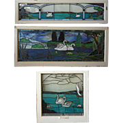Set of Three American Stained, Leaded and Copper Foil Glass Swan Windows