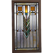 Framed American Prairie School Stained Glass and Zinc Window