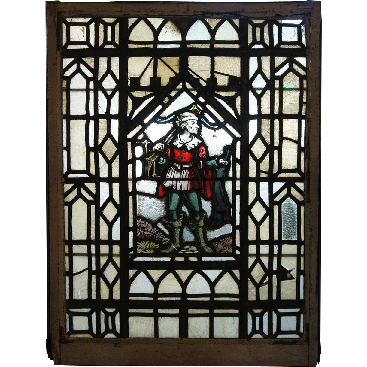 Renaissance Revival Stained and Leaded Glass Window