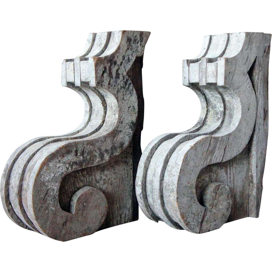Pair of American Painted Wood Corbel Brackets