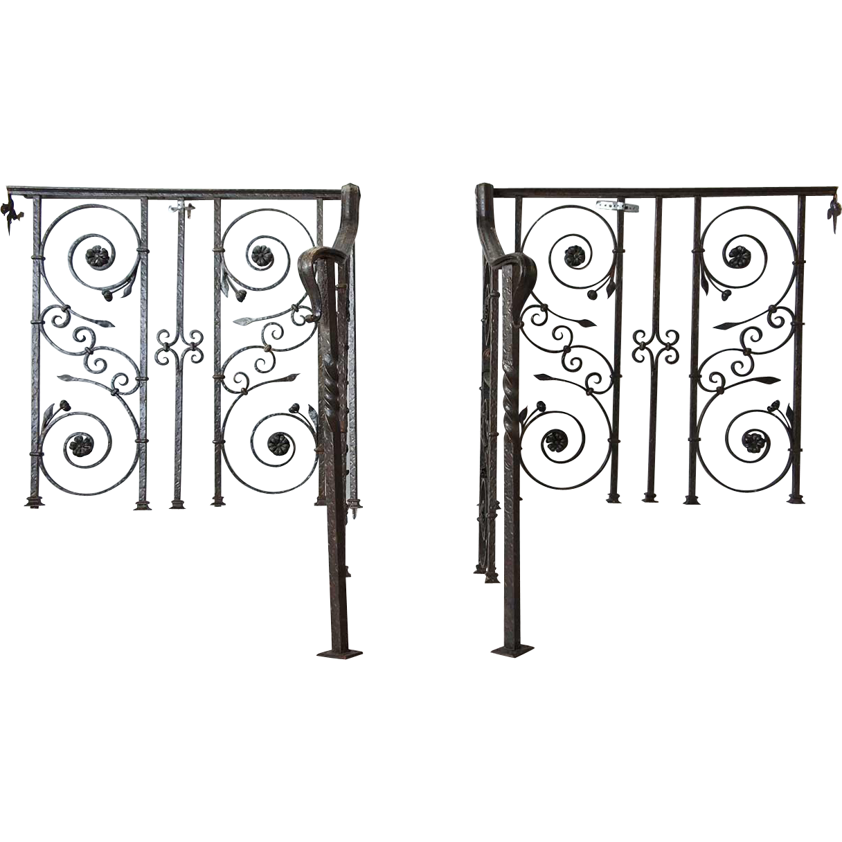 Pair of Wrought Iron Staircase Hand Rails and Railings