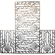 Three-Piece French Art Deco Set of Metal Panels