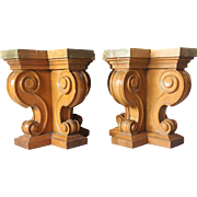 Pair of American Renaissance Revival Solid Oak Table Bases