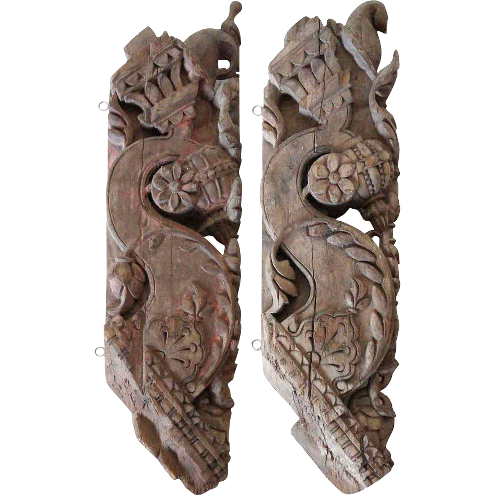 Pair of Indian Teak Architectural Roof Brackets