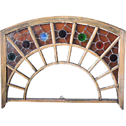 American Stained and Leaded Glass Arched Window