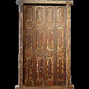 Large Indo-Portuguese Teak Paneled Bifold Door with Jamb