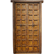 Large Indian Painted Teak and Iron Mounted (Clavos) Double Door with Frame