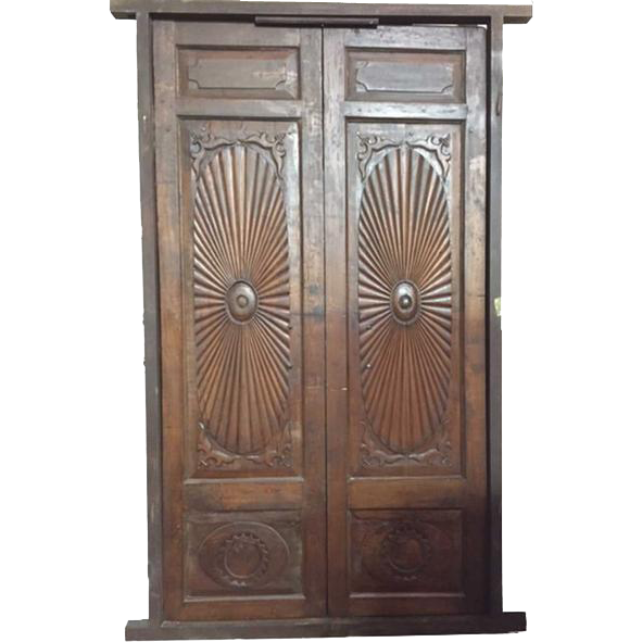 Large 19th Century English or Portuguese style Teak Paneled Double Door with Jamb