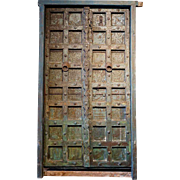 Large Indian Painted Teak and Iron Mounted (Clavos) Double Door