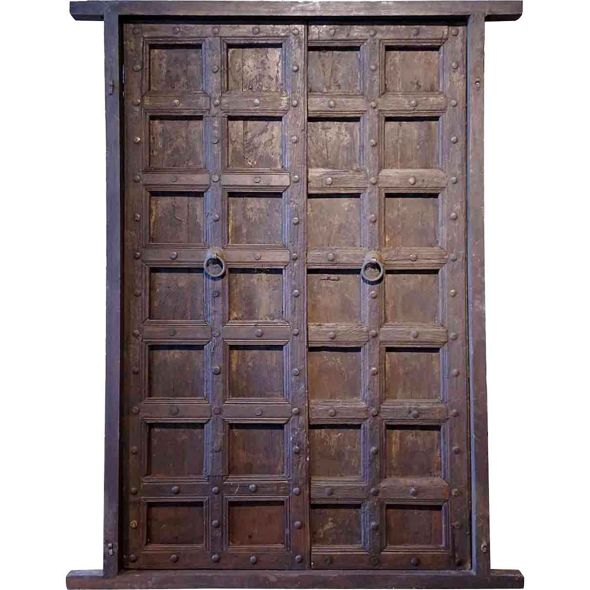 Large Indian Teak and Iron Mounted (Clavos) Double Door with Frame