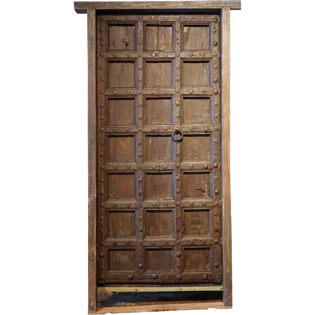 Large Indian Teak and Iron Mounted (Clavos) Single Door with Frame