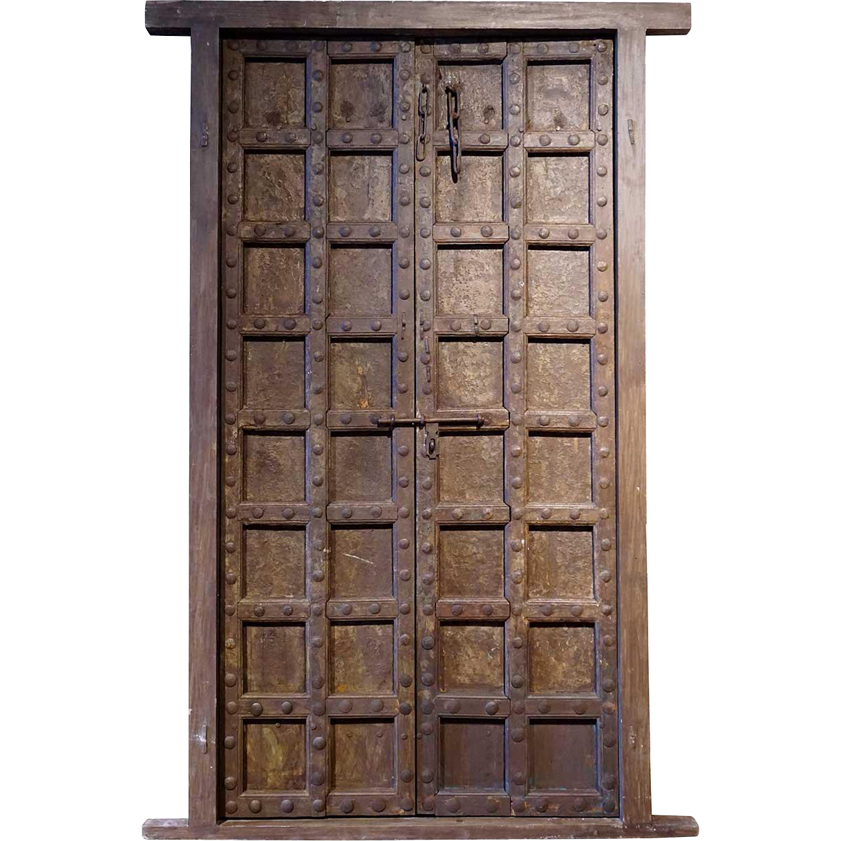 Large Indian Teak and Iron Mounted (Clavos) Double Door with Jamb