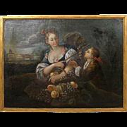 Italian School Oil on Canvas Painting, Bucolic Scene