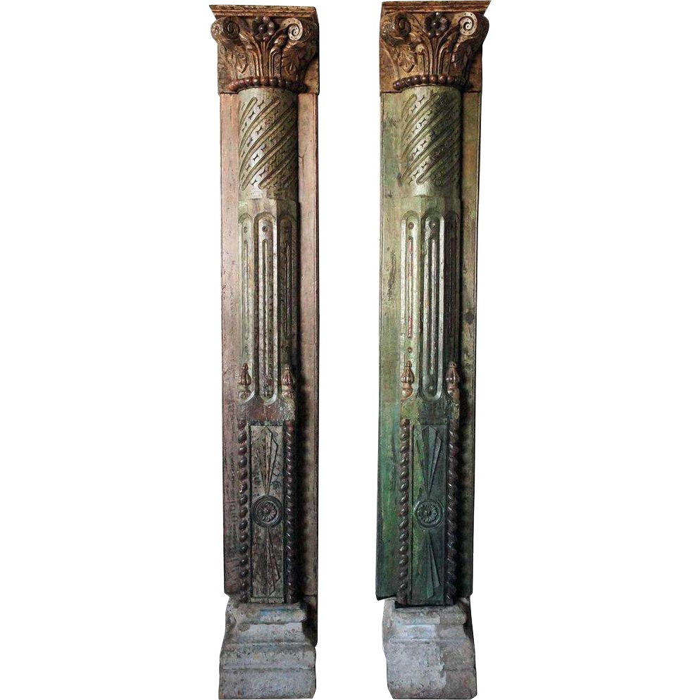 Pair Indian Painted Teak Pilasters with Limestone Bases