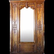 French Oak Framed Boiserie Trumeau Mirror