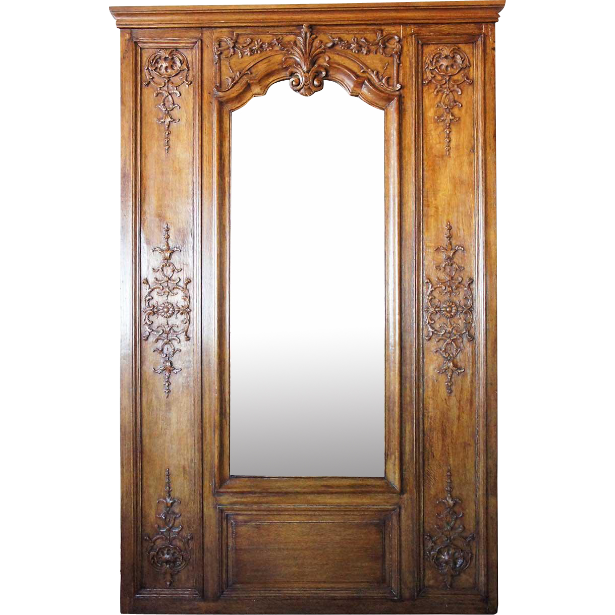 French Oak Framed Boiserie Trumeau Mirror