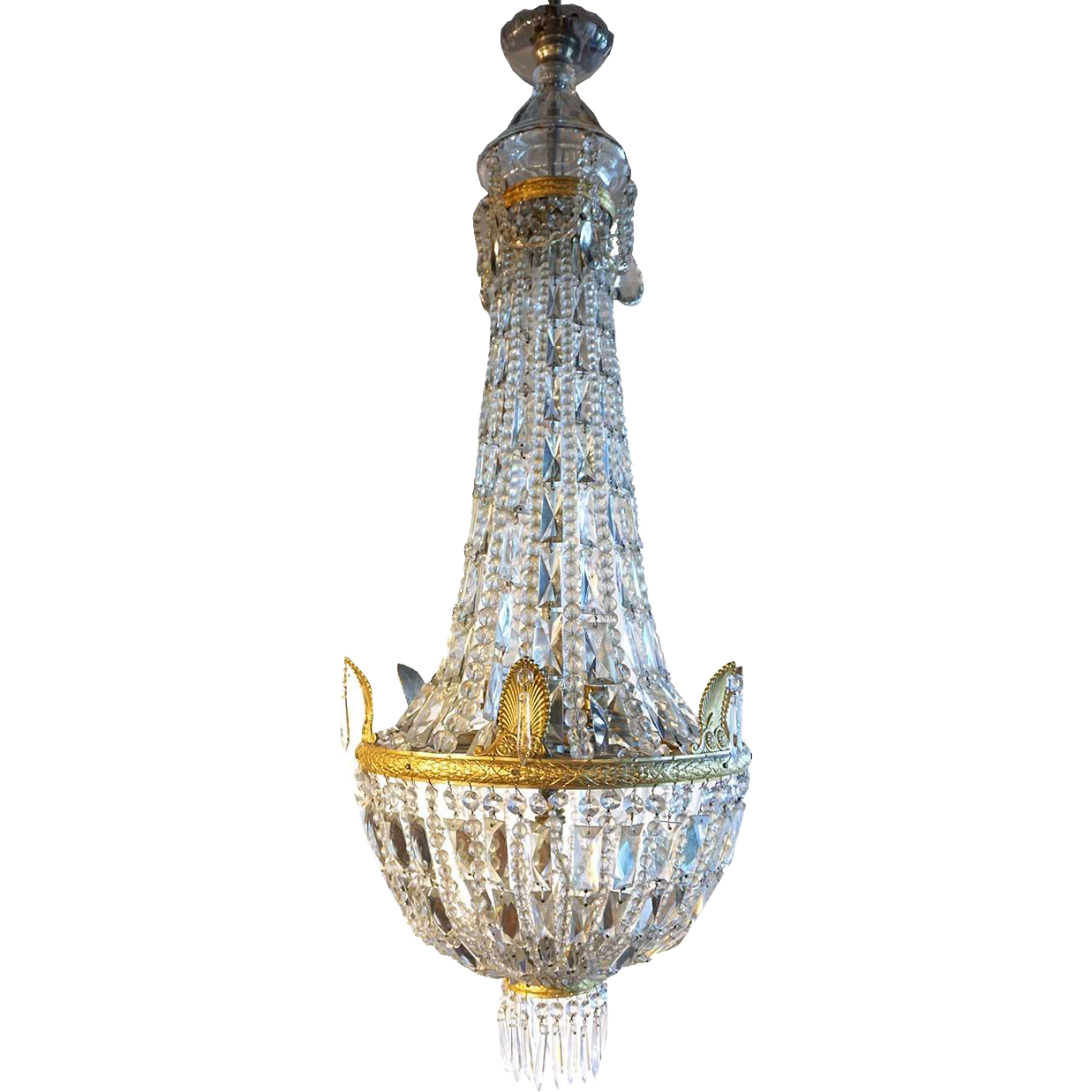 French Empire Style Gilt Bronze and Crystal Pendant Light