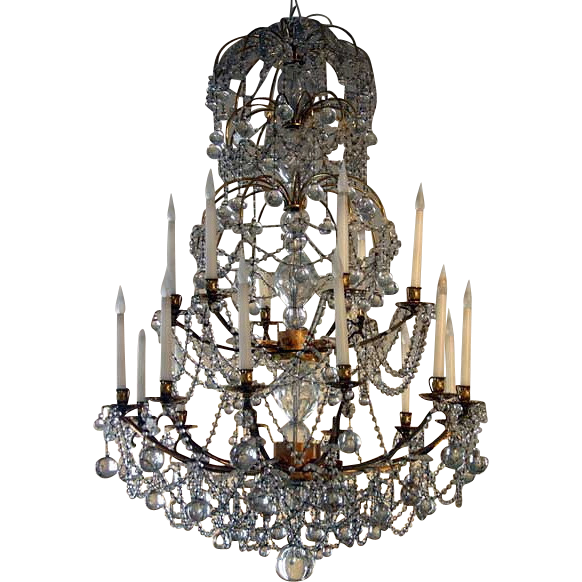 Large French Louis XVI Gilded Bronze and Crystal 18-Light Chandelier