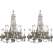 "Pair of Large 60""x80"" Crystal and Silver-Plated 24-Light Chandeliers"