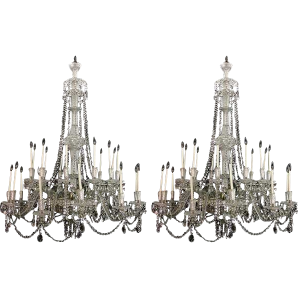 Pair of Large Vintage French Crystal and Silver-Plated 24-Light Chandeliers