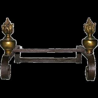 French Provincial Louis XVI Iron and Bronze Pots au Feu Firedogs