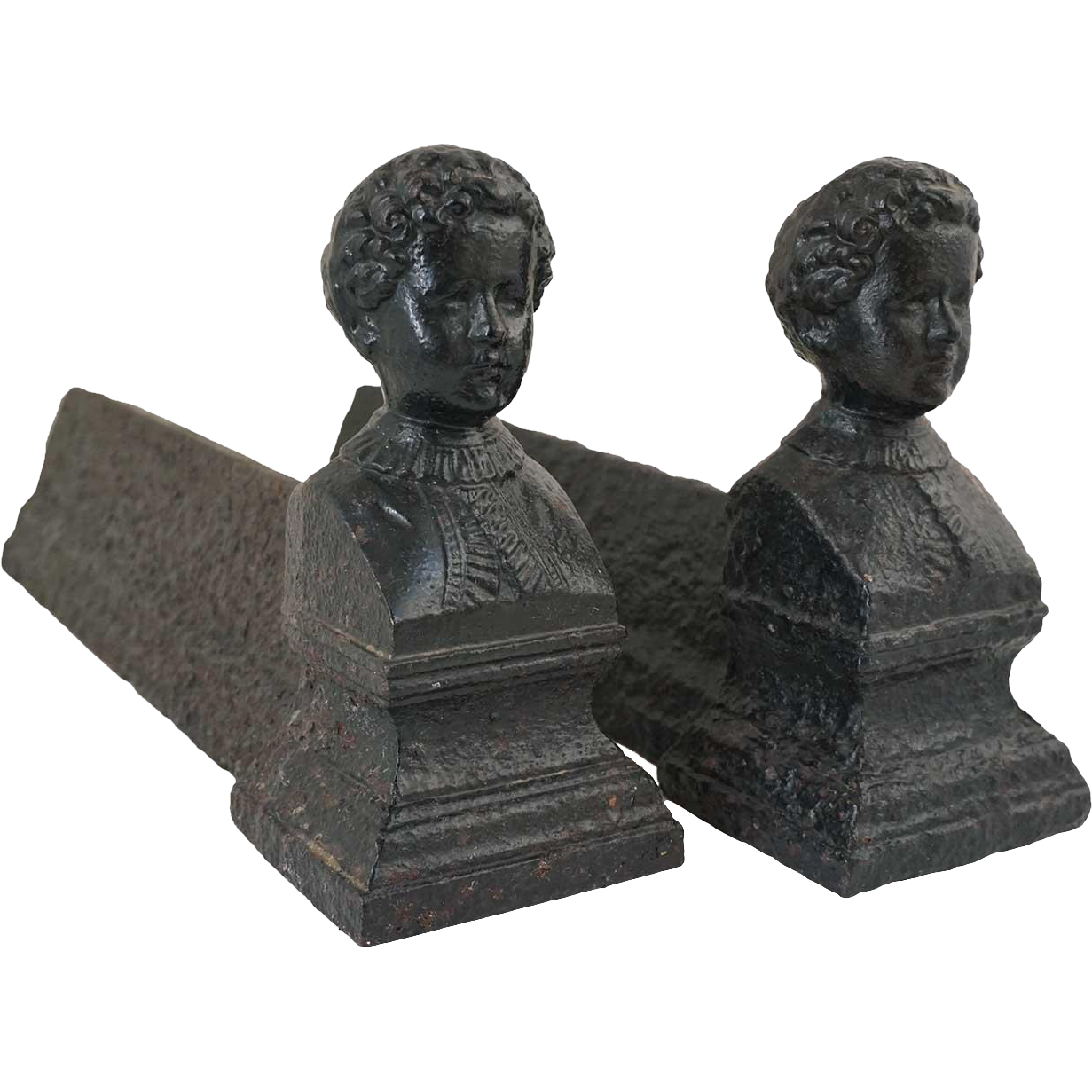 Pair of French Napoleon III Cast Iron Figural Andirons