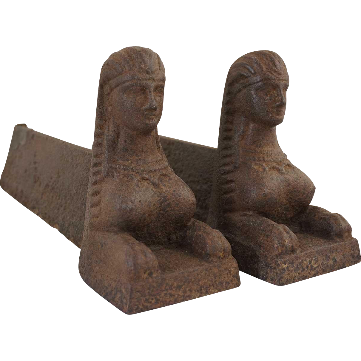 Pair of French Empire Cast Iron Figural Sphinx Fireplace Andirons