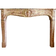 French Louis XIV-XV Bourguignon Stone Fireplace Surround