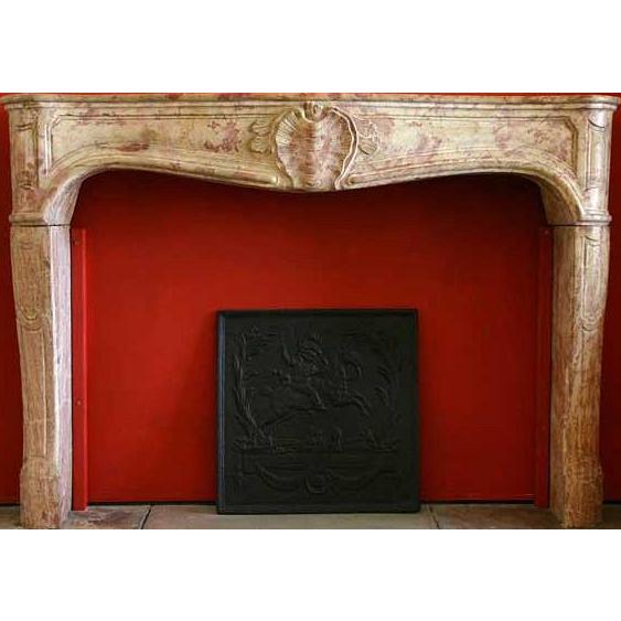 French Louis XIV-XV Bourguignon Stone Fireplace Surround