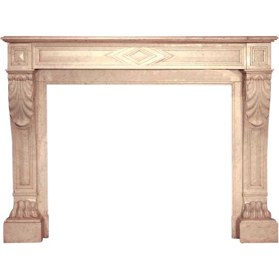 French Empire Style Marble Griffes de Lion Fireplace Surround