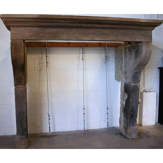 French Louis XIII Style Limestone Fireplace Surround Mantel