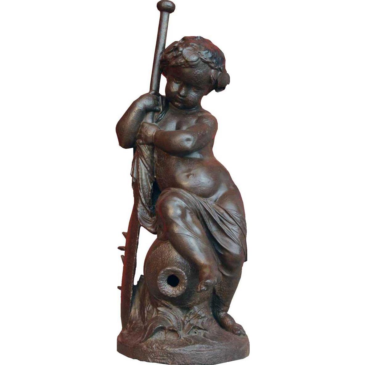 After MATHURIN MOREAU Val d'Osne Patinated Iron Fountainhead Figure, Enfant à la Rame