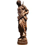 French Neoclassical Cast Iron Statue of a Maiden and a Heron