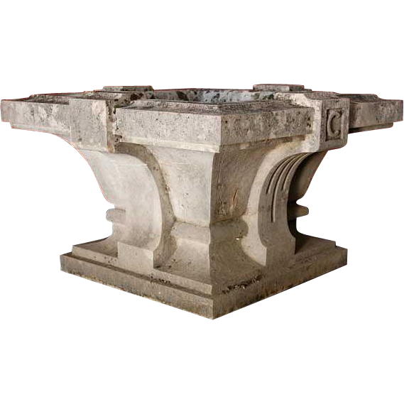 Antique Hand Carved French Limestone Planter or Fountain Basin