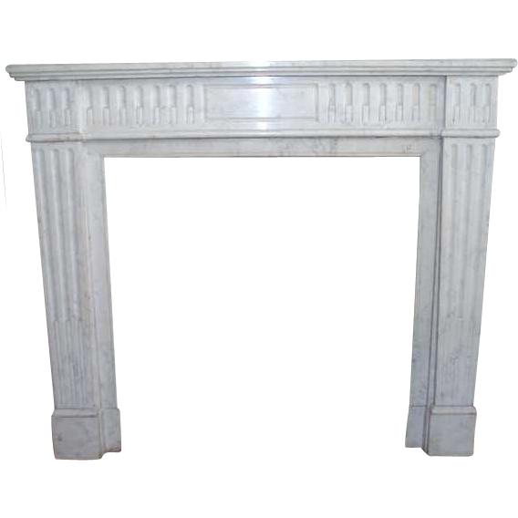 French Louis XVI Style White Marble Fireplace Surround