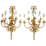 Pair of Italian Neoclassical Gilt Bronze Seven-Light Sconces