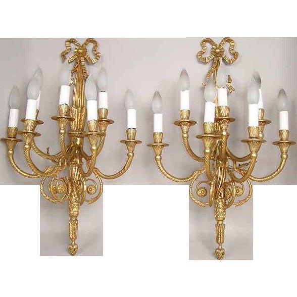Pair of Italian Neoclassical Gilt Bronze Seven-Light Sconces